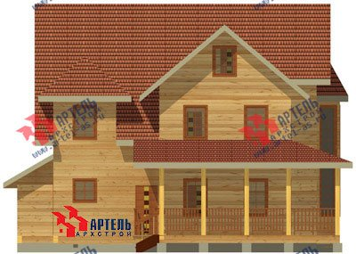 трёхэтажный дом из бруса площадью свыше 200 кв. м. с  балконом, гаражом, мансардой, террасой, эркером, проект Вариант 12.3 А фотография 1424