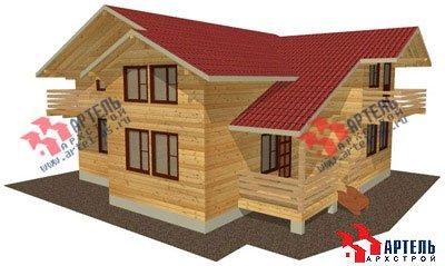 двухэтажный дом из профилированного бруса площадью свыше 200 кв. м. с  балконом, верандой, мансардой, проект Вариант 12 Б фотография 1452