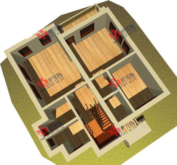 двухэтажный дом из камня площадью от 150 до 200 кв. м. с  балконом, эркером, проект Вариант 26 фотография 2823