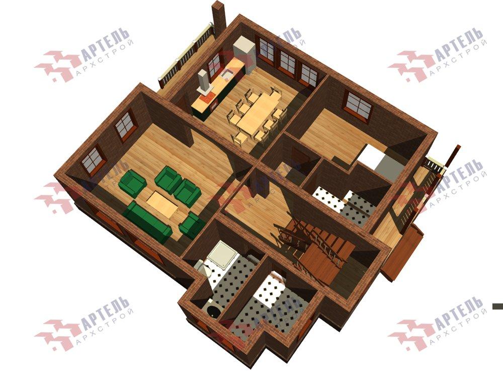 двухэтажный дом омбинированные дома площадью от 150 до 200 кв. м. с  балконом, эркером, проект Вариант 26 Камень и Комбинированный фотография 6228