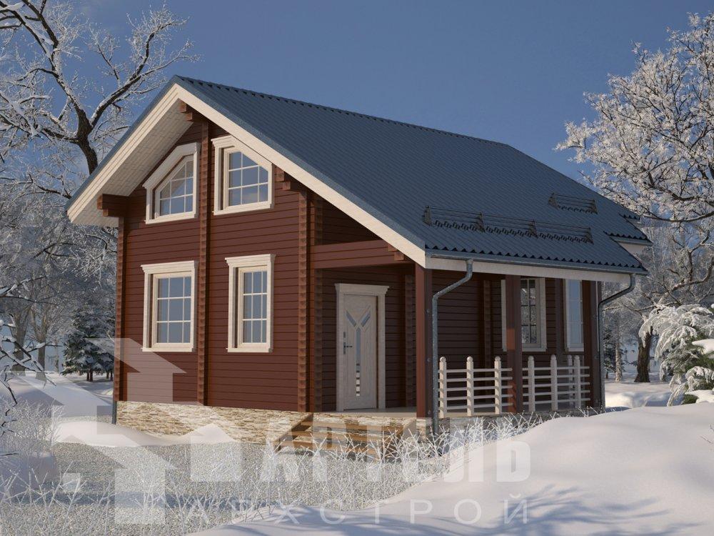 двухэтажный дом из профилированного бруса площадью от 100 до 150 кв. м. с  верандой, мансардой, эркером, проект Вариант 6 Л фотография 6624