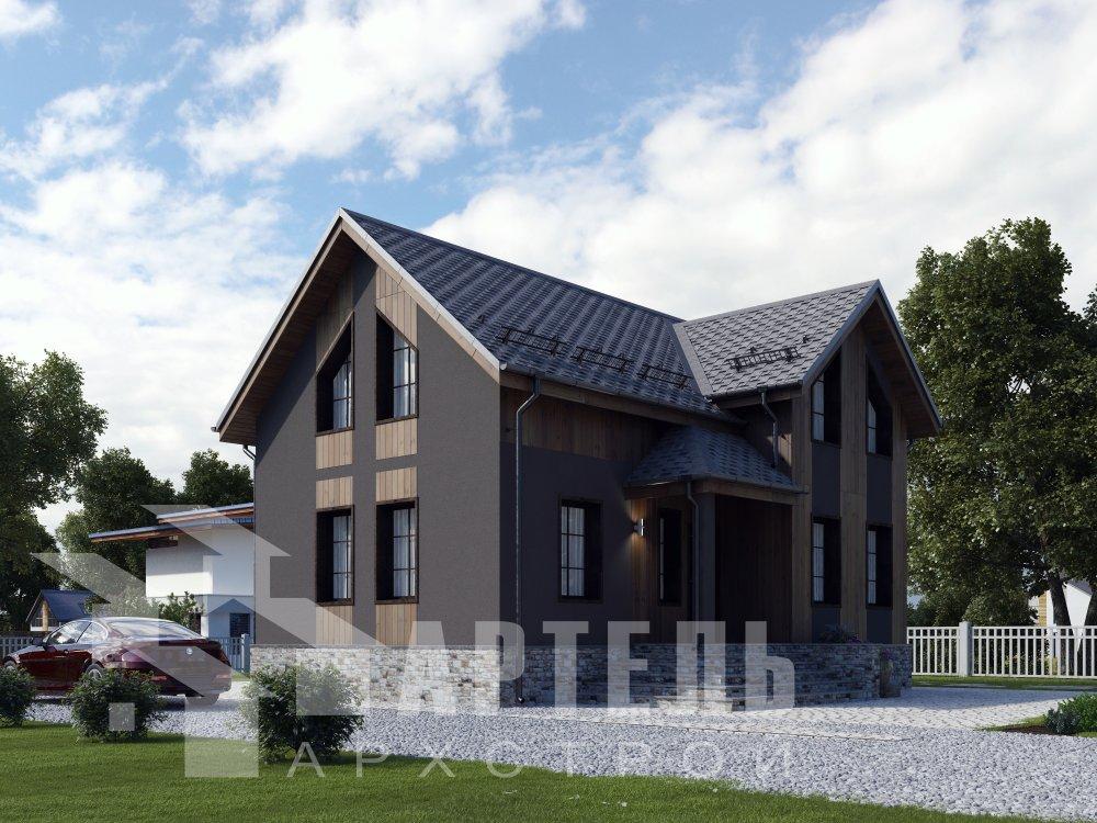 двухэтажный дом омбинированные дома площадью от 100 до 150 кв. м. с  эркером, проект Вариант 9 фотография 6351