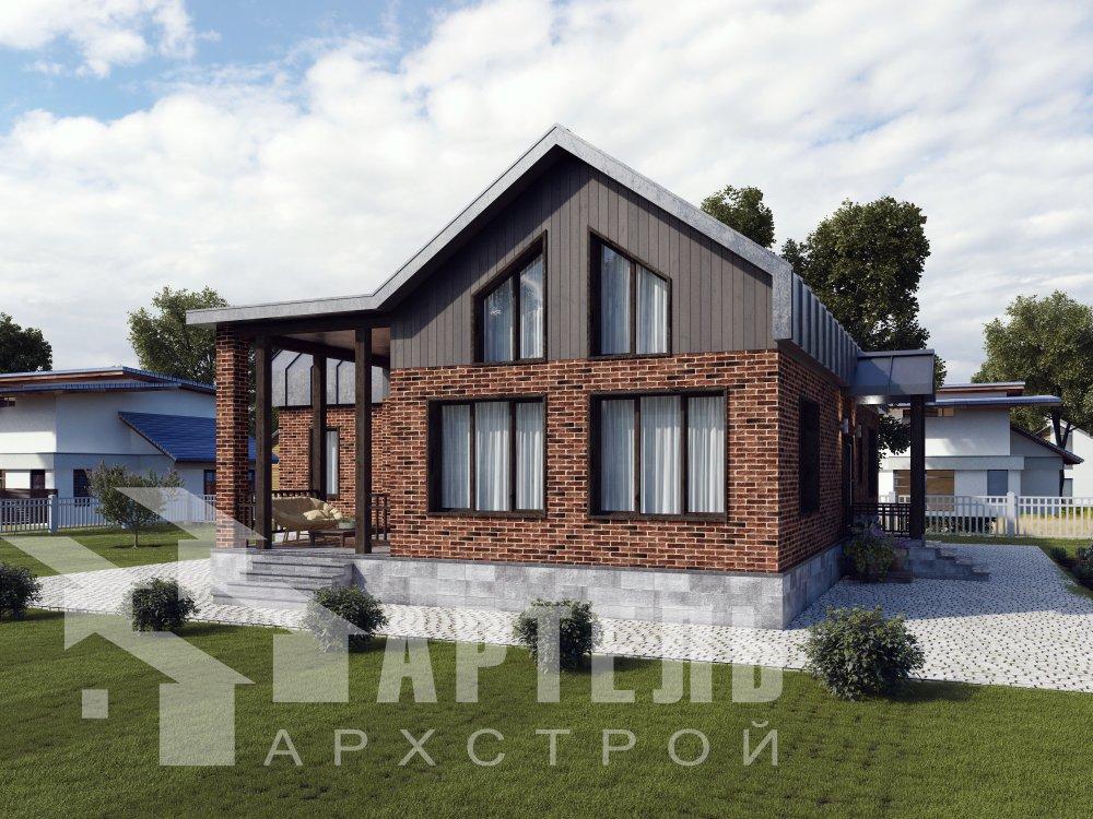дом омбинированные дома, проект Вариант 14Т Камень и Комбинированный фотография 6361