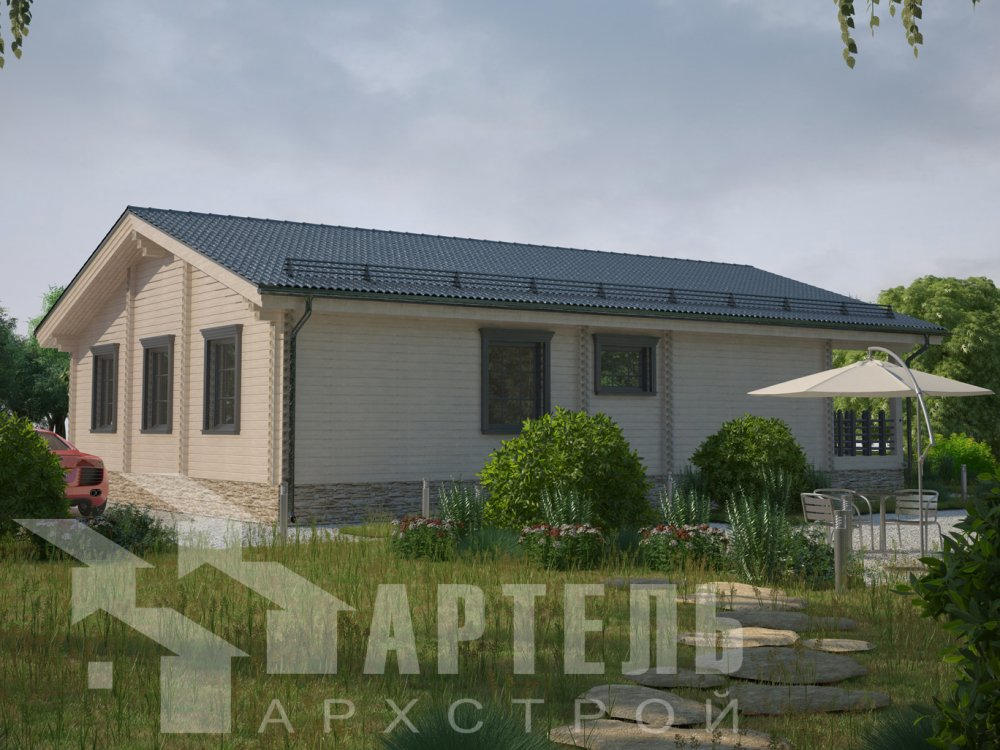 одноэтажный дом из профилированного бруса площадью от 100 до 150 кв. м. с  террасой, проект Вариант 12.4 Б фотография 6431