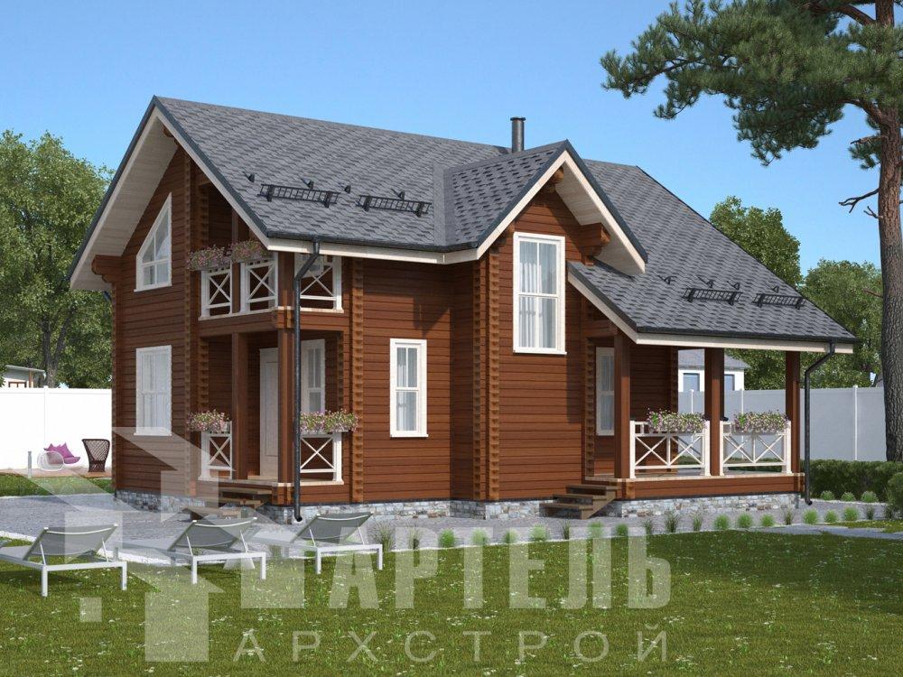 двухэтажный дом омбинированные дома площадью от 100 до 150 кв. м., проект Вариант 9,9К Камень и Комбинированный фотография 6510