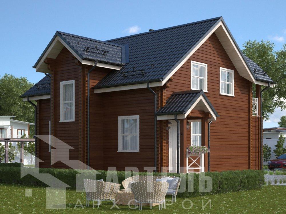 двухэтажный дом из профилированного бруса площадью от 100 до 150 кв. м. с  балконом, террасой, проект Вариант 10.7Л фотография 6556