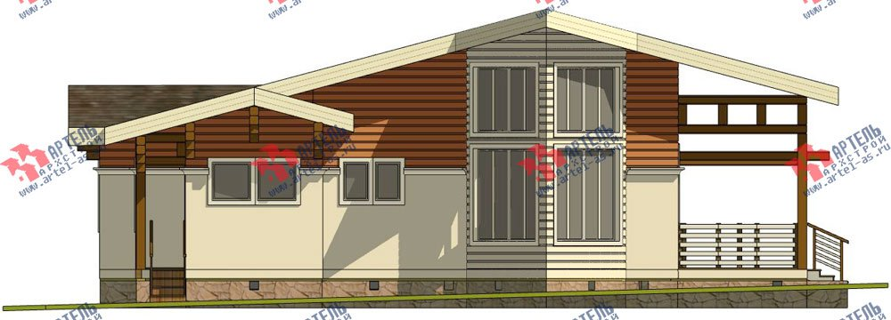 одноэтажный дом из профилированного бруса площадью от 150 до 200 кв. м. с  террасой, проект Вариант 5 фотография 2669