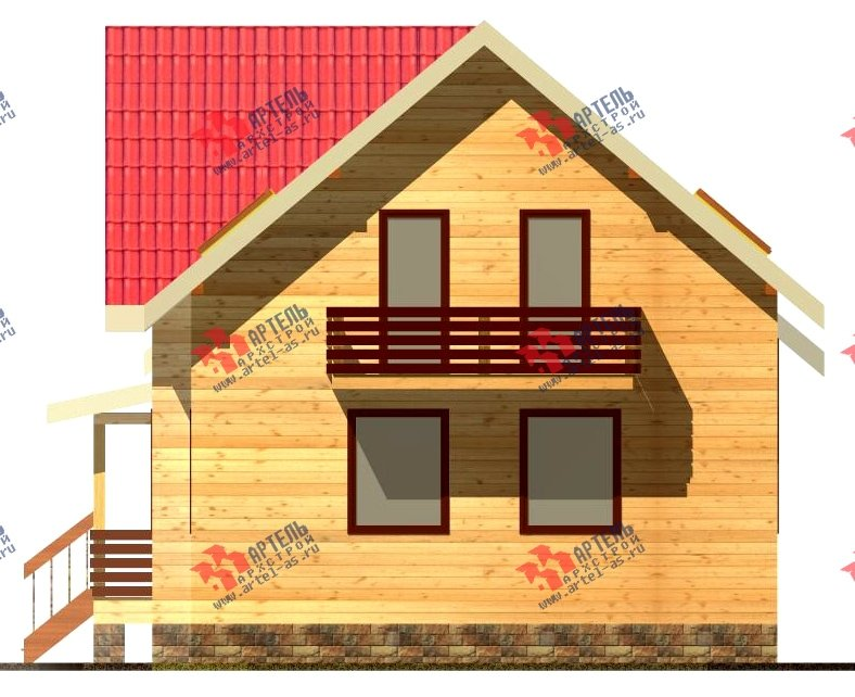 двухэтажный дом из бруса площадью от 150 до 200 кв. м. с  балконом, мансардой, проект Вариант 8.7 К фотография 2140