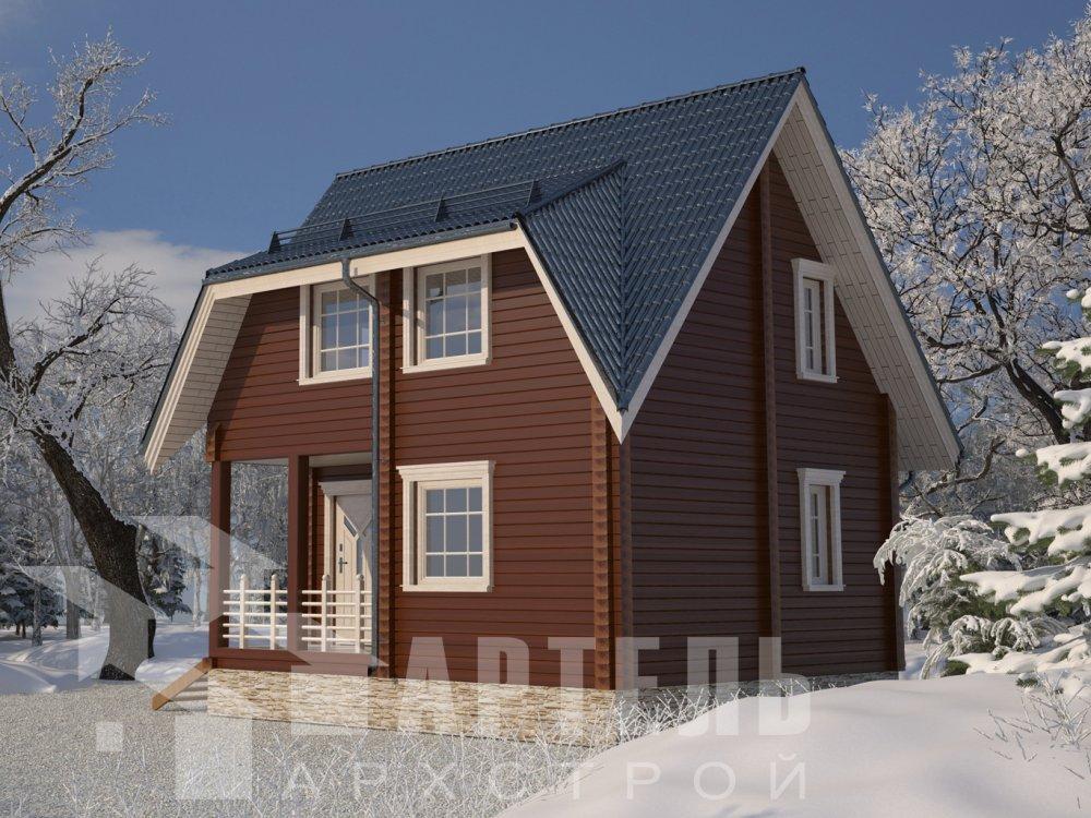 двухэтажный дом из профилированного бруса площадью до 100 кв. м. с  мансардой, проект Вариант 6 Д фотография 6572
