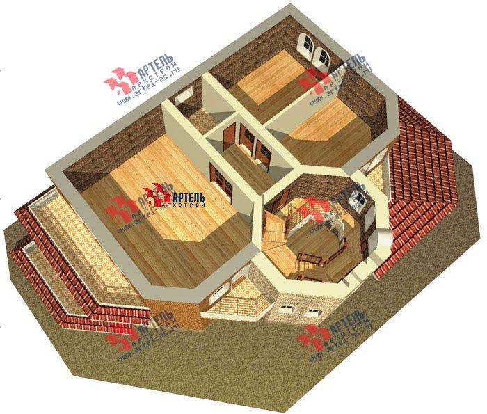 трёхэтажный дом из камня площадью свыше 200 кв. м. с  балконом, террасой, эркером, проект Вариант 4 фотография 481