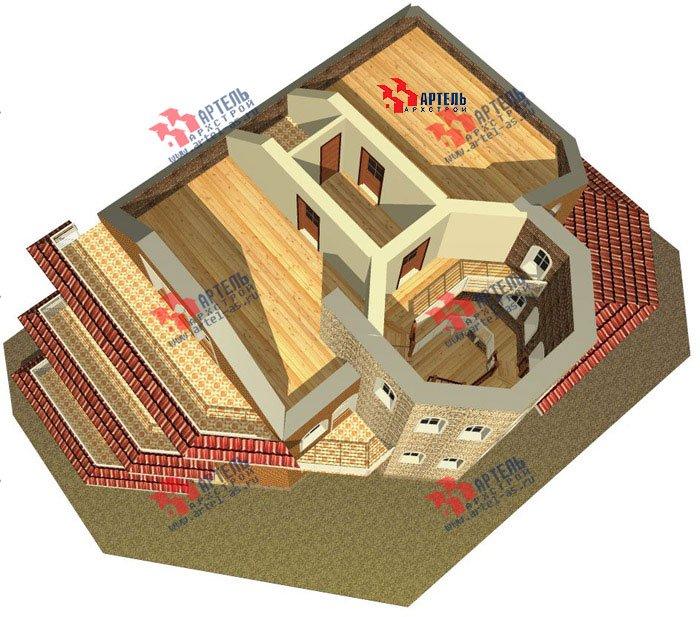 трёхэтажный дом из камня площадью свыше 200 кв. м. с  балконом, террасой, эркером, проект Вариант 4 фотография 482
