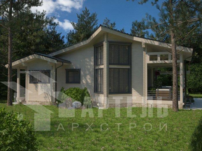 одноэтажный дом из профилированного бруса площадью от 150 до 200 кв. м. с  террасой, проект Вариант 5 фотография 4823