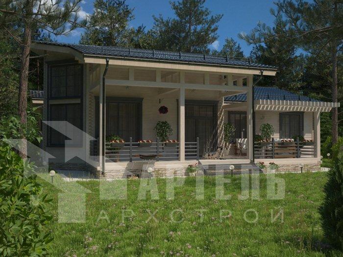 одноэтажный дом из профилированного бруса площадью от 150 до 200 кв. м. с  террасой, проект Вариант 5 фотография 4826
