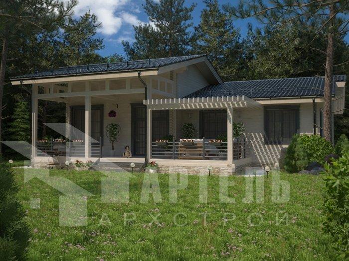 одноэтажный дом из профилированного бруса площадью от 150 до 200 кв. м. с  террасой, проект Вариант 5 фотография 4827