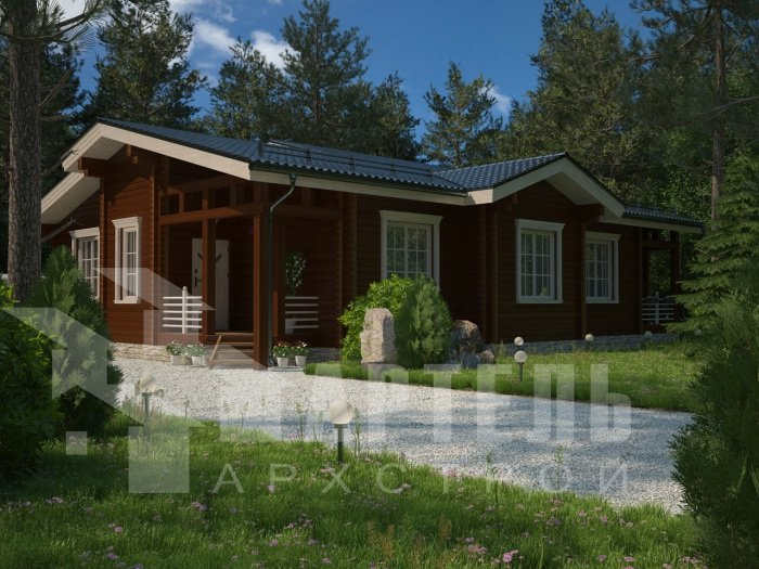 одноэтажный дом из профилированного бруса площадью от 150 до 200 кв. м. с  террасой, проект Вариант 5 фотография 4819