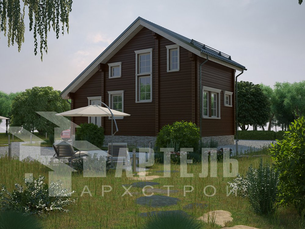 двухэтажный дом из профилированного бруса площадью до 100 кв. м. с  мансардой, проект Вариант 5.6 А фотография 4211