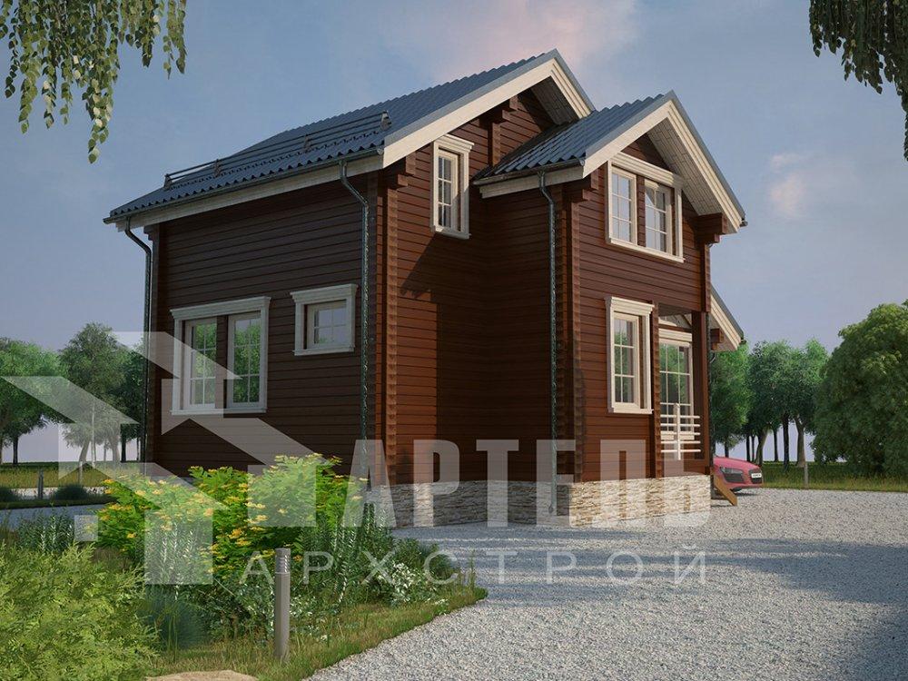 двухэтажный дом из профилированного бруса площадью до 100 кв. м. с  мансардой, проект Вариант 5.6 А фотография 4212