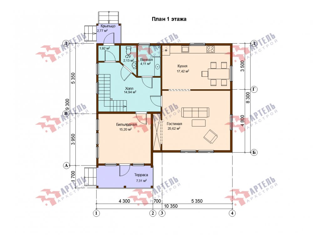 двухэтажный дом из профилированного бруса площадью от 150 до 200 кв. м. с  балконом, мансардой, проект Вариант 9 К фотография 6629
