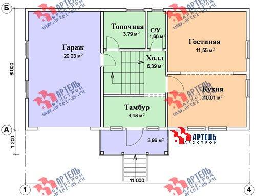 трёхэтажный дом из бруса площадью от 100 до 150 кв. м. с  гаражом, мансардой, проект Вариант 6 М фотография 898