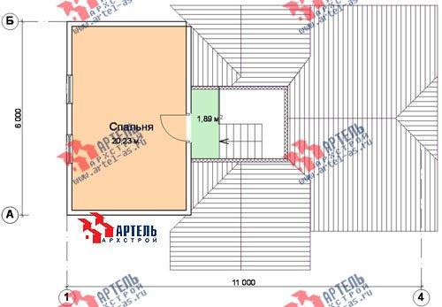трёхэтажный дом из бруса площадью от 100 до 150 кв. м. с  гаражом, мансардой, проект Вариант 6 М фотография 900