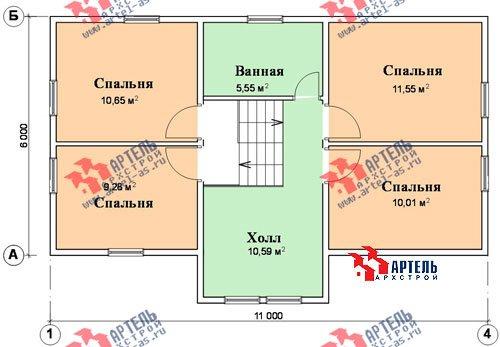 трёхэтажный дом из бруса площадью от 100 до 150 кв. м. с  гаражом, мансардой, проект Вариант 6 М фотография 899