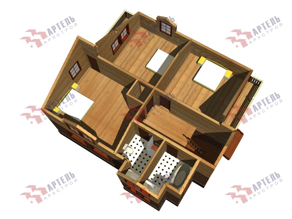 двухэтажный дом омбинированные дома площадью от 150 до 200 кв. м. с  балконом, эркером, проект Вариант 26 Камень и Комбинированный фотография 6229