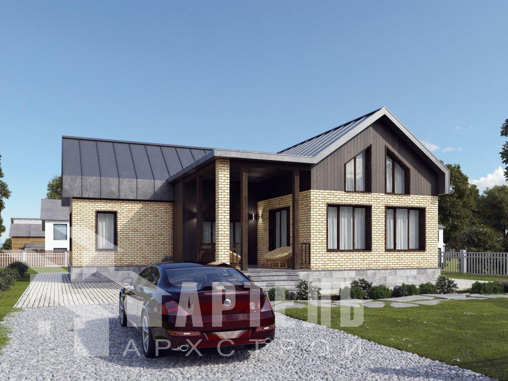 дом омбинированные дома, проект Вариант 14Т Камень и Комбинированный фотография 6343