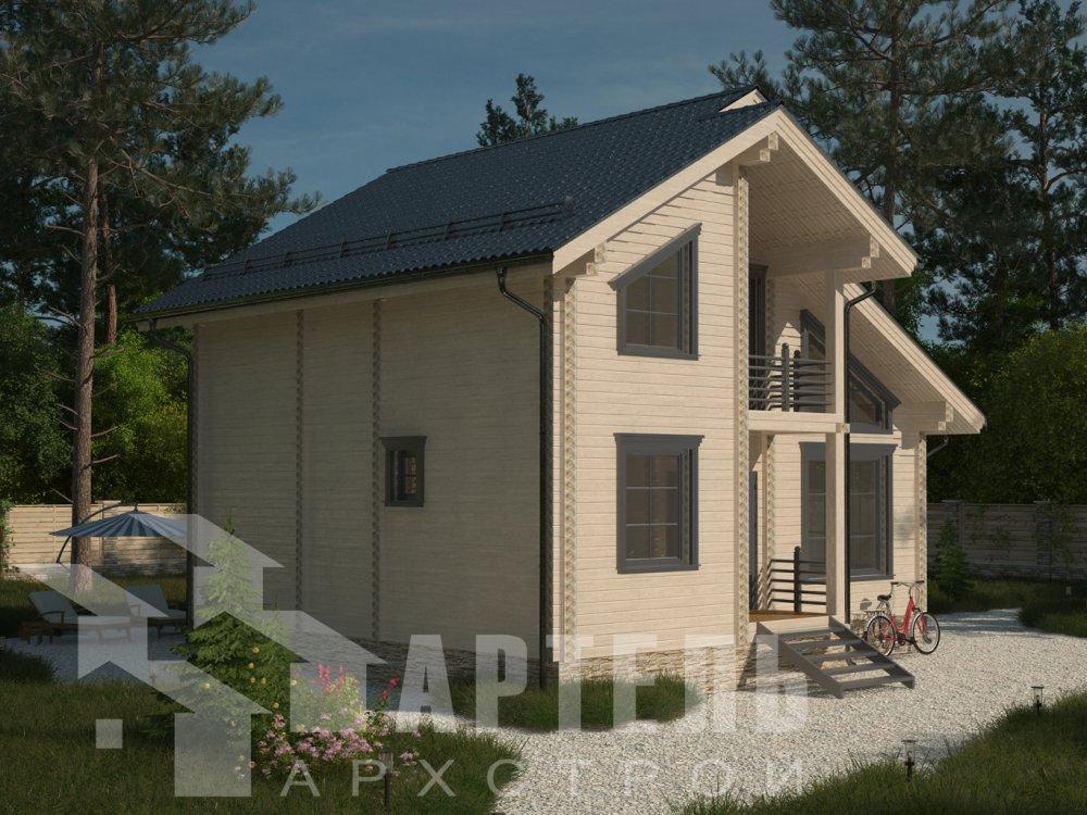 двухэтажный дом из профилированного бруса площадью от 100 до 150 кв. м. с  балконом, мансардой, проект Вариант 9.3 К фотография 6406
