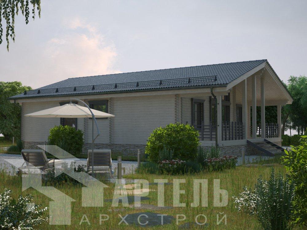 одноэтажный дом из профилированного бруса площадью от 100 до 150 кв. м. с  террасой, проект Вариант 12.4 Б фотография 6423