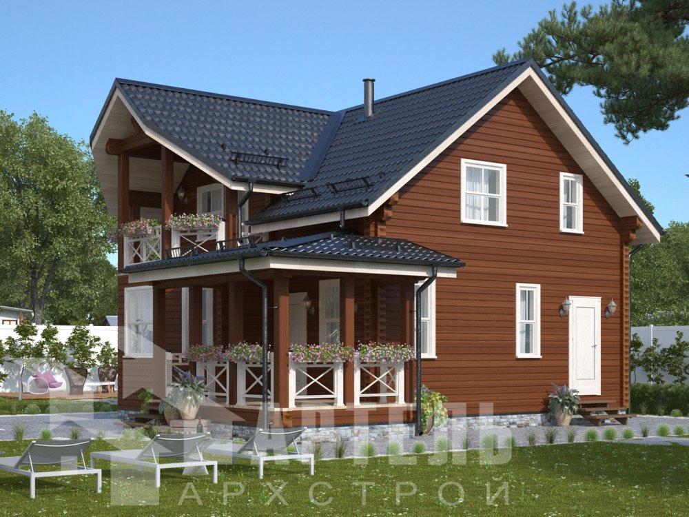 двухэтажный дом из профилированного бруса площадью от 100 до 150 кв. м. с  балконом, террасой, проект Вариант 10.7Л фотография 6548