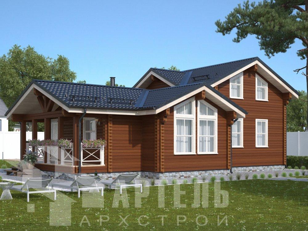 двухэтажный дом из профилированного бруса площадью от 100 до 150 кв. м., проект Вариант 13.3 А фотография 6579