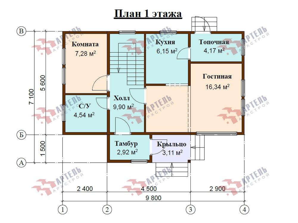 двухэтажный дом из профилированного бруса площадью до 100 кв. м. с  мансардой, проект Вариант 5.6 А фотография 5835