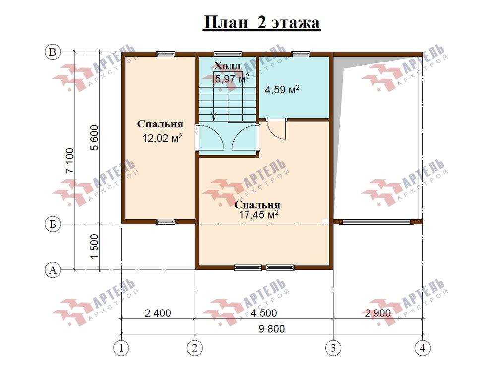 двухэтажный дом из профилированного бруса площадью до 100 кв. м. с  мансардой, проект Вариант 5.6 А фотография 5836