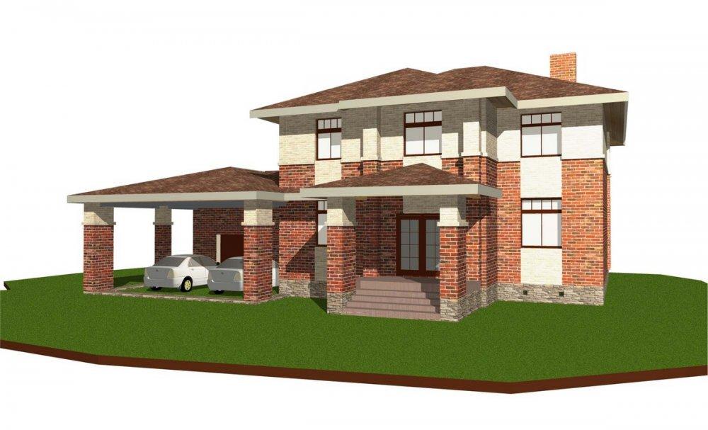 двухэтажный дом омбинированные дома площадью свыше 200 кв. м., проект Вариант 18,4А Камень и Комбинированный фотография 6068