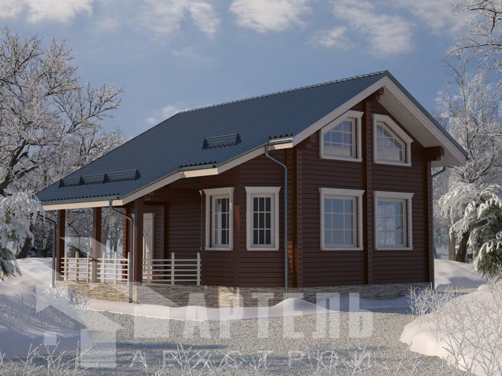 двухэтажный дом из профилированного бруса площадью от 100 до 150 кв. м. с  верандой, мансардой, эркером, проект Вариант 6 Л фотография 6610
