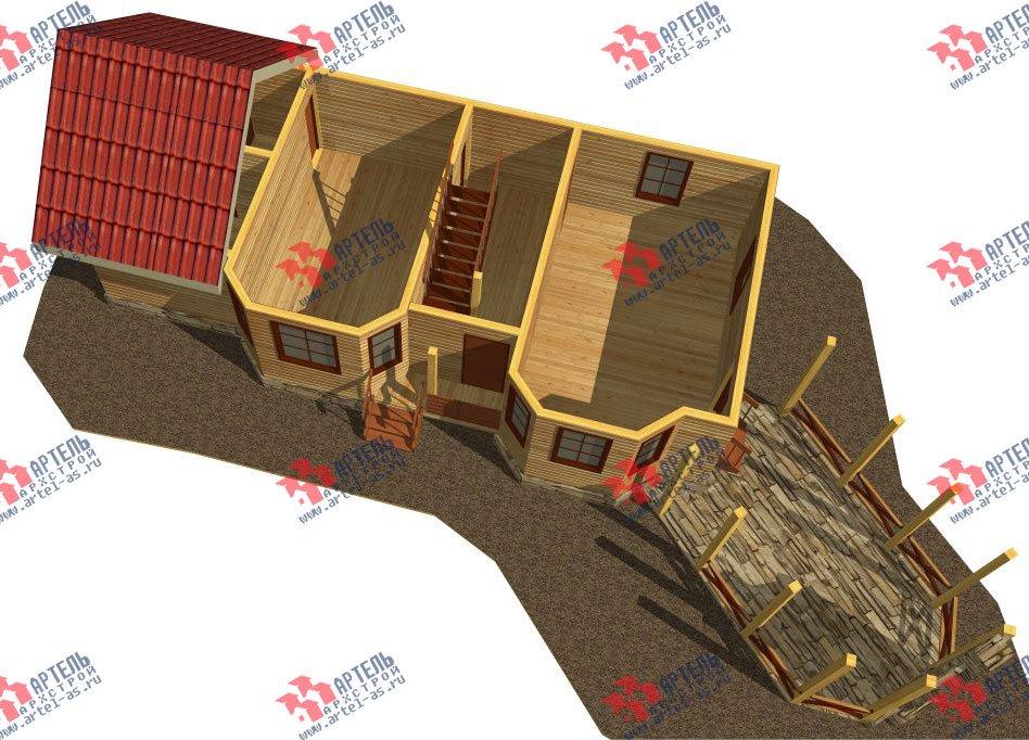 двухэтажный дом из профилированного бруса площадью от 100 до 150 кв. м. с  мансардой, террасой, эркером, проект Вариант 6.7 Б фотография 2473