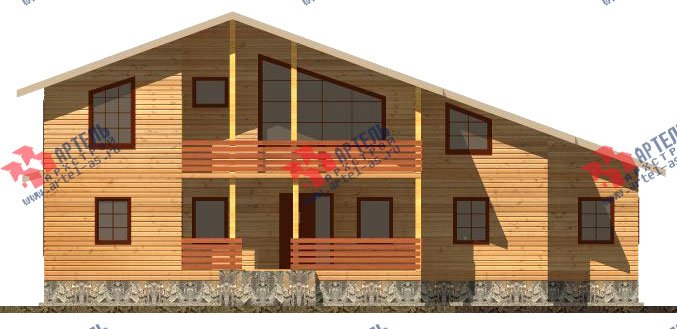 двухэтажный дом из бруса площадью свыше 200 кв. м. с  балконом, мансардой, террасой, проект Вариант 18 А фотография 2420