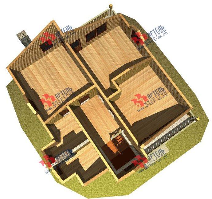 двухэтажный дом из камня площадью от 150 до 200 кв. м. с  балконом, эркером, проект Вариант 26 фотография 2824