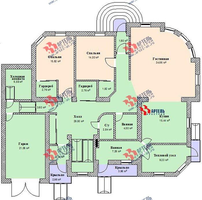 двухэтажный дом из камня площадью свыше 200 кв. м. с  балконом, гаражом, эркером, проект Вариант 6 фотография 505