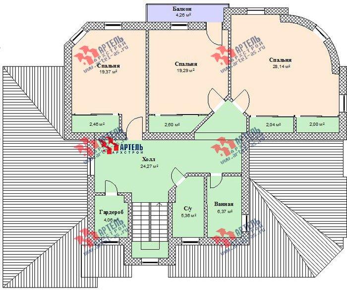 двухэтажный дом из камня площадью свыше 200 кв. м. с  балконом, гаражом, эркером, проект Вариант 6 фотография 506