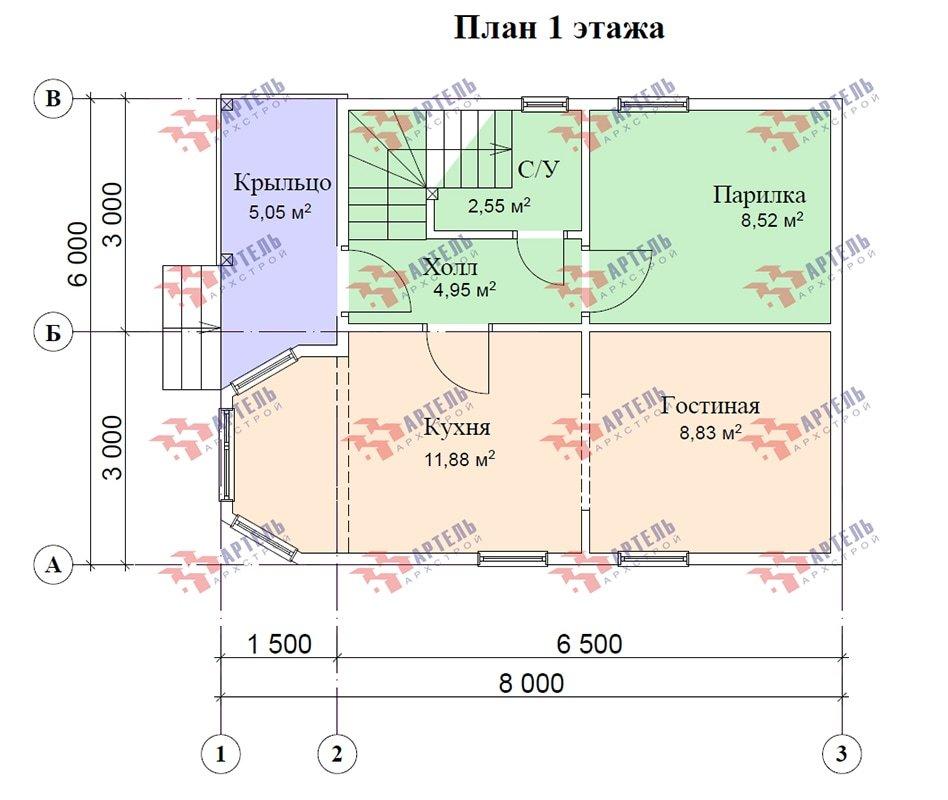 двухэтажный дом из профилированного бруса площадью до 100 кв. м. с  мансардой, эркером, проект Вариант 6.5 Е фотография 4863