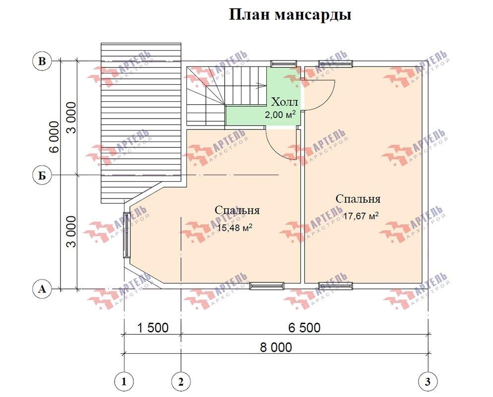 двухэтажный дом из профилированного бруса площадью до 100 кв. м. с  мансардой, эркером, проект Вариант 6.5 Е фотография 4864