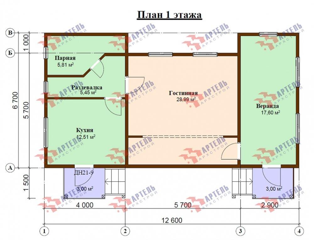 двухэтажный дом из профилированного бруса площадью от 100 до 150 кв. м. с  мансардой, эркером, проект Вариант 6.7 А фотография 4883