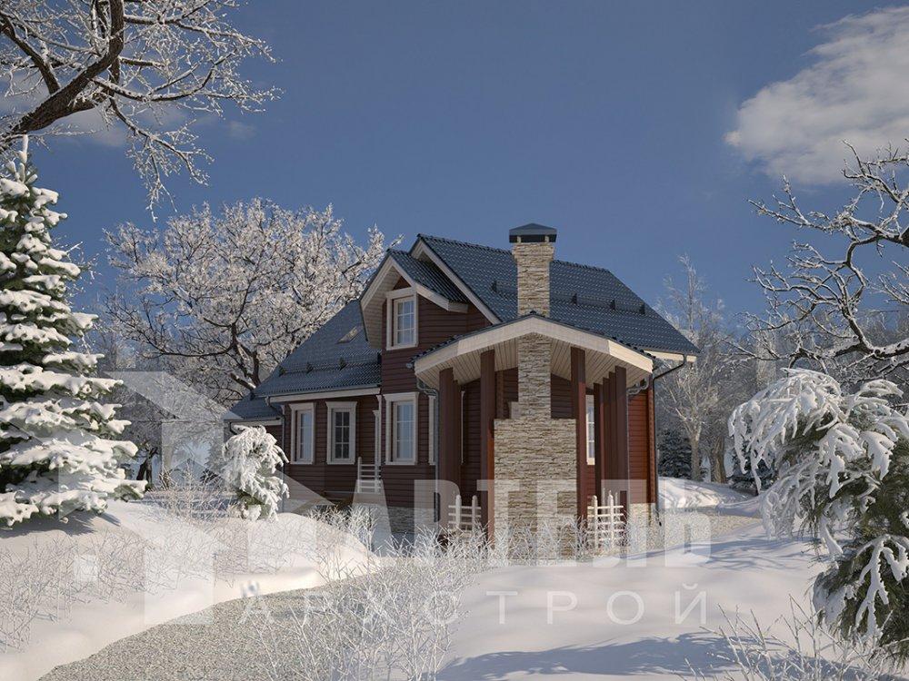 двухэтажный дом из профилированного бруса площадью от 100 до 150 кв. м. с  мансардой, террасой, эркером, проект Вариант 6.7 Б фотография 4185