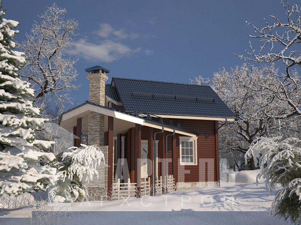 двухэтажный дом из профилированного бруса площадью от 100 до 150 кв. м. с  мансардой, террасой, эркером, проект Вариант 6.7 Б фотография 4186