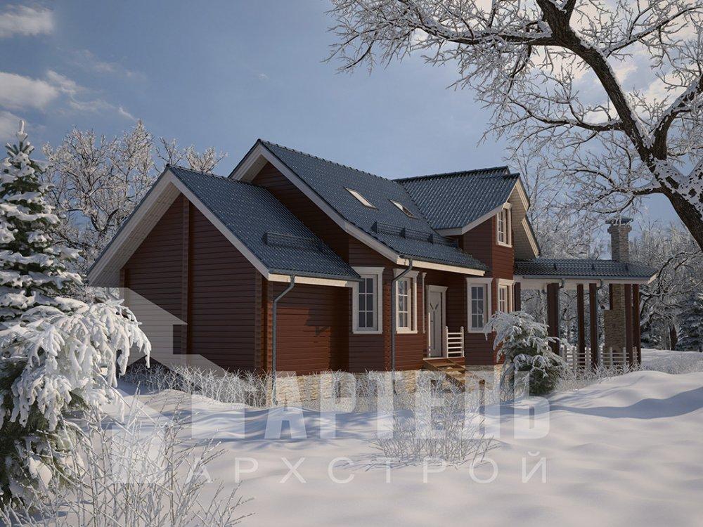 двухэтажный дом из профилированного бруса площадью от 100 до 150 кв. м. с  мансардой, террасой, эркером, проект Вариант 6.7 Б фотография 4190