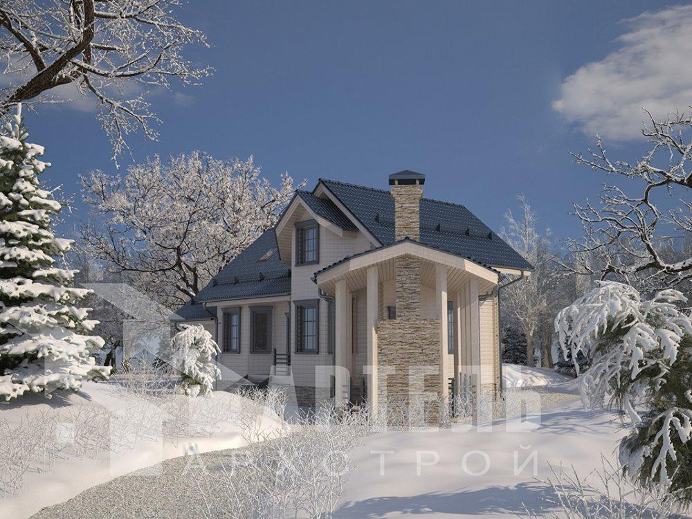 двухэтажный дом из профилированного бруса площадью от 100 до 150 кв. м. с  мансардой, террасой, эркером, проект Вариант 6.7 Б фотография 4191