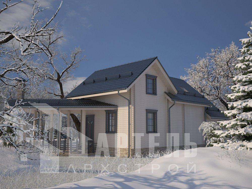 двухэтажный дом из профилированного бруса площадью от 100 до 150 кв. м. с  мансардой, террасой, эркером, проект Вариант 6.7 Б фотография 4194