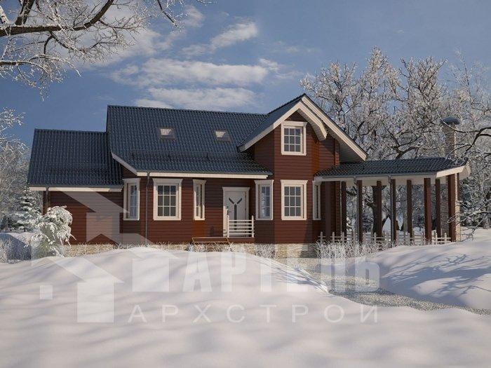 двухэтажный дом из профилированного бруса площадью от 100 до 150 кв. м. с  мансардой, террасой, эркером, проект Вариант 6.7 Б фотография 4816