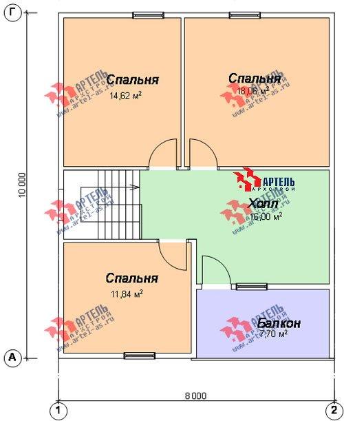 двухэтажный дом из профилированного бруса площадью от 100 до 150 кв. м. с  балконом, мансардой, проект Вариант 8 К фотография 1068